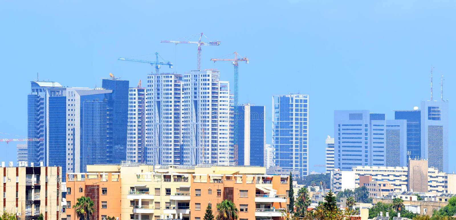 Building of the Blue City. Cityscape of modern city. Tel-Aviv. Israel stock image