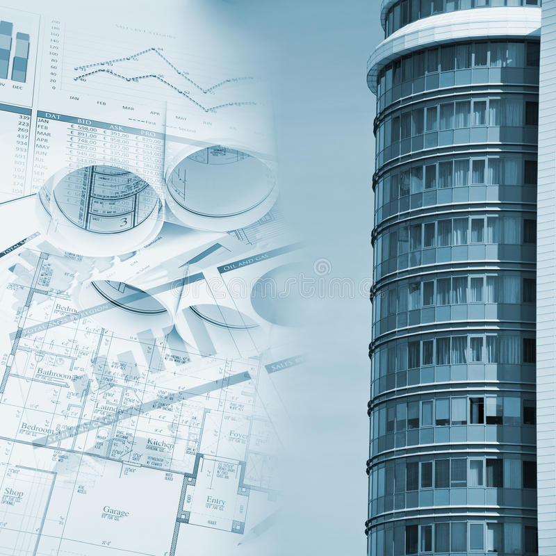 Building and blueprints, business collage stock photos