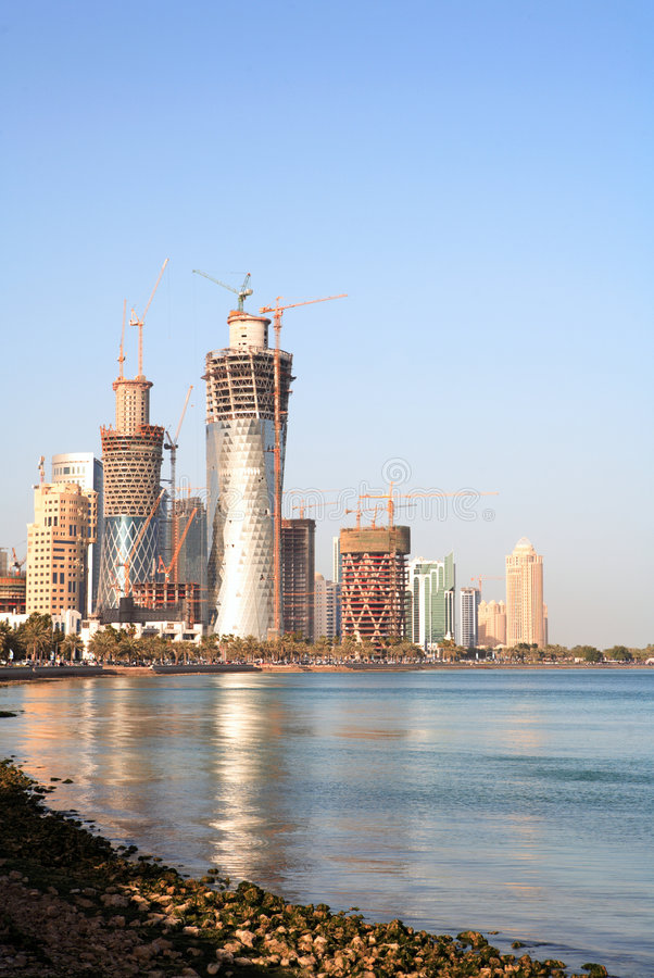 Building boom in Doha, Qatar stock image