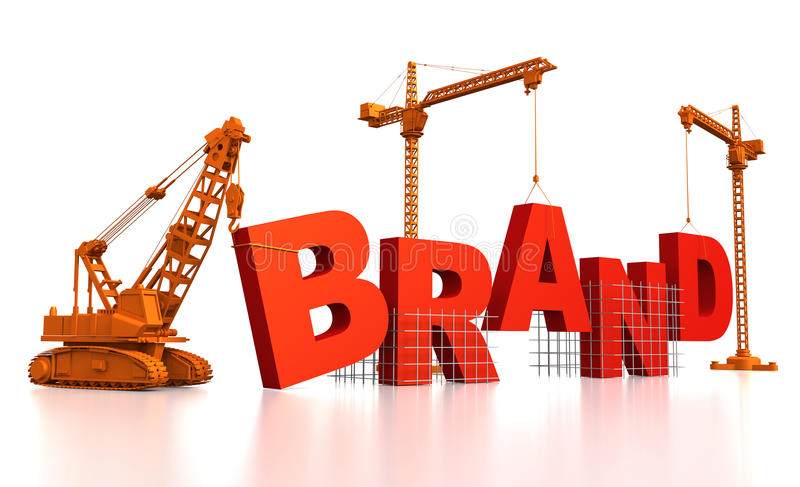 Building a Brand. 3D render illustration of construction site, including cranes and lifting machine, where the word Brand is being built royalty free illustration