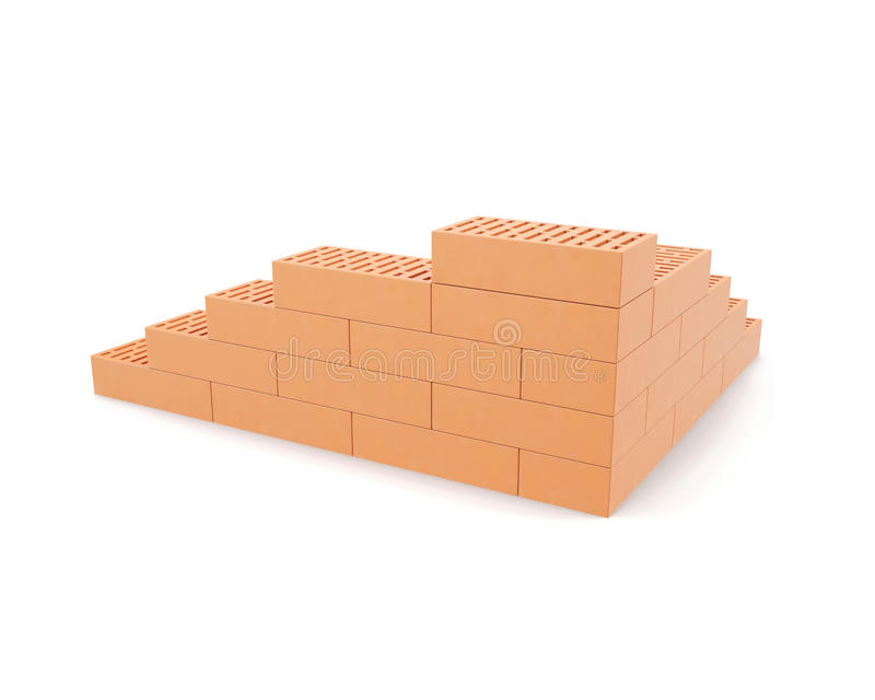 Building brick wall isolated on white background with shadows. 3d illustration High resolution royalty free illustration