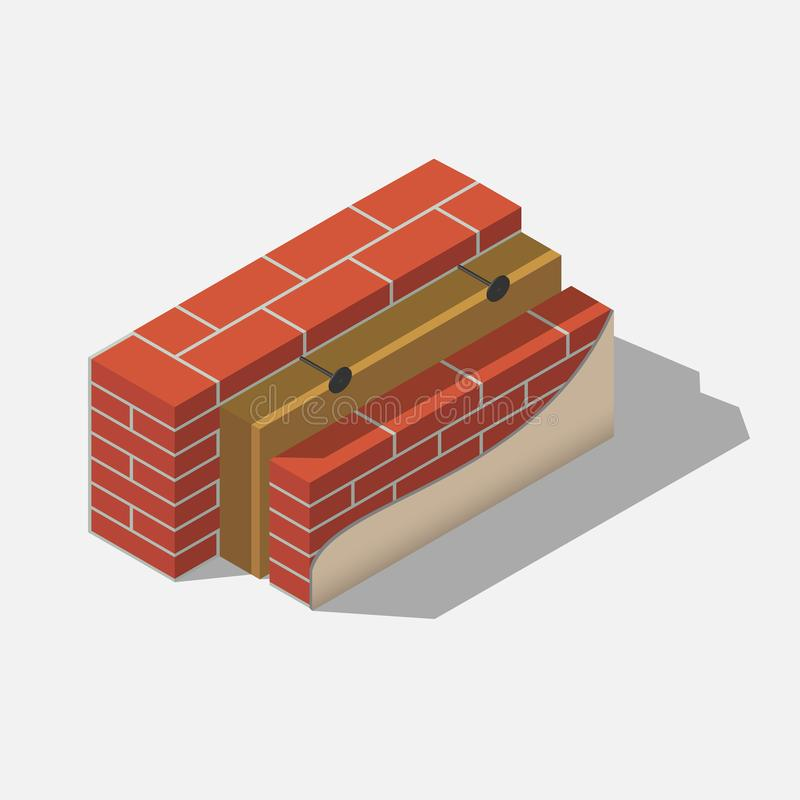 Building brick wall layers. With insulation and cladding isometric stock illustration