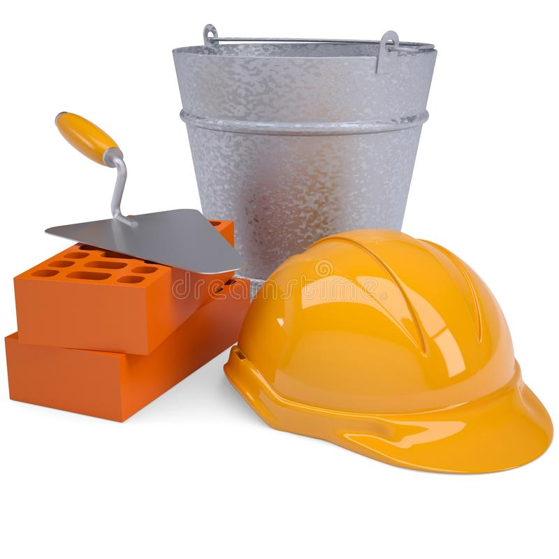 Free Building Bricks, Hard Hat, Trowel And A Bucket Stock Images - 30127524