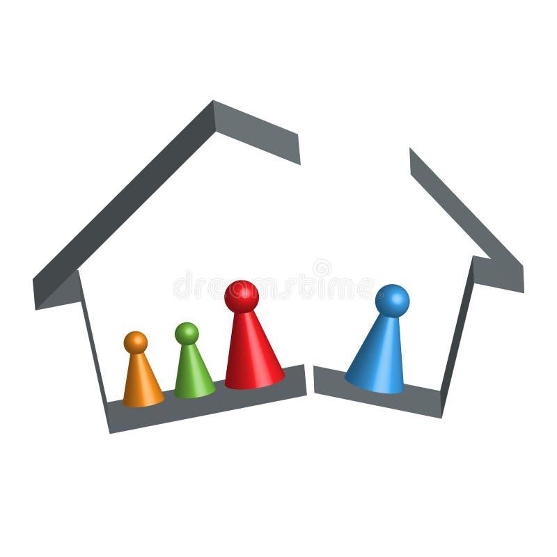 Building broken family home in 3D. Vector vector illustration