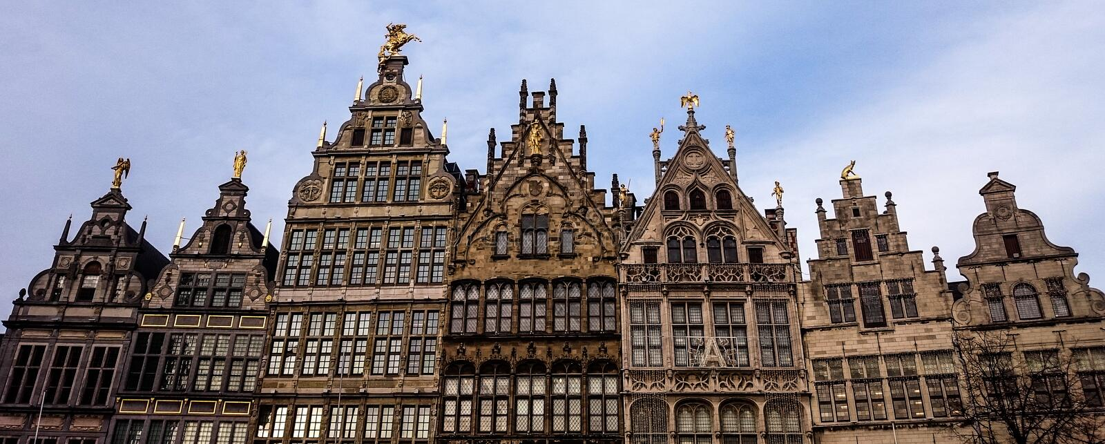 Building Brotherhood. Different buildings with similar style. It seems like a family. From Antwerpen, in Belgium stock images