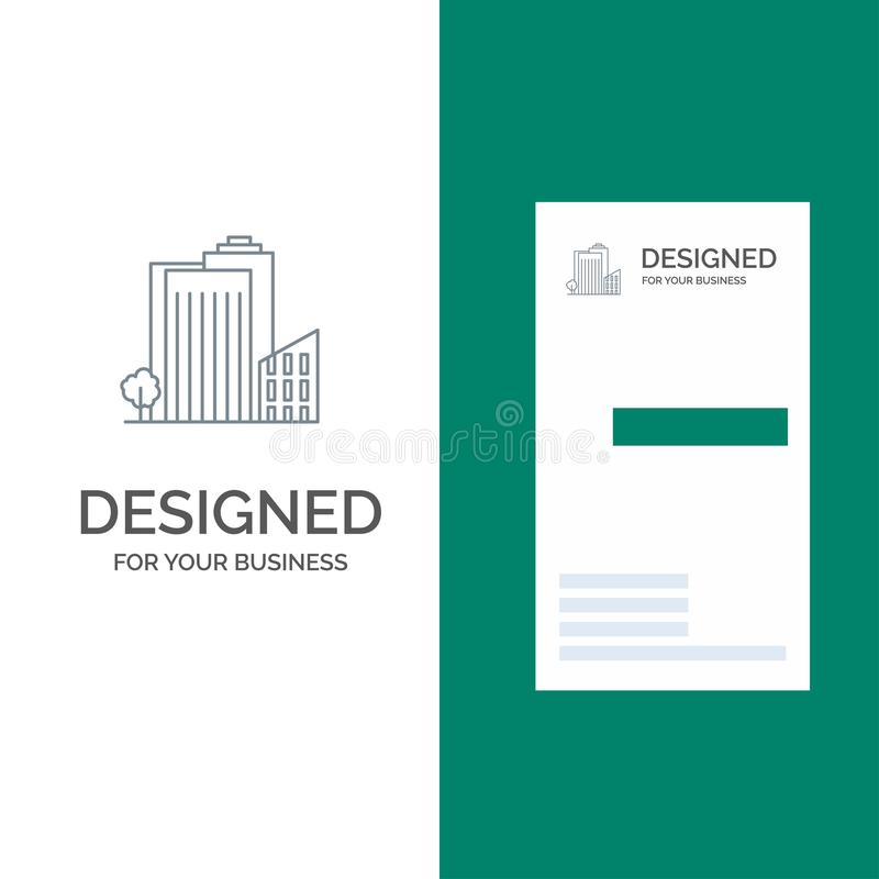 Building, Build, Dormitory, Tower, Real Estate Grey Logo Design and Business Card Template stock illustration