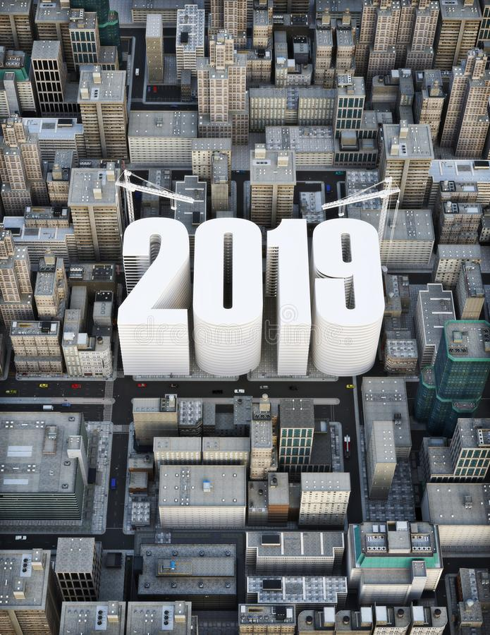 Building 2019 . Business, construction, growth concept . 3d rendering illustration of a city. With the words 2019 rising in the center royalty free stock image