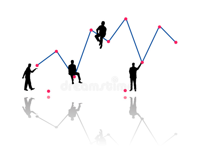 Building business growth chart. Vector illustration of a financial team of businessman building a statistic chart bar of economic performance as silhouette stock illustration