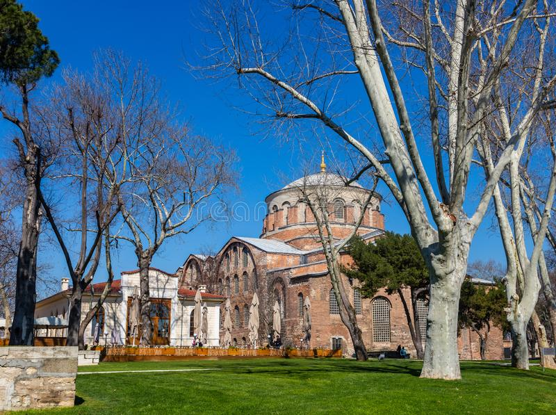The building of the Byzantine church of St. Irene in Istanbul, Turkey.  stock photos