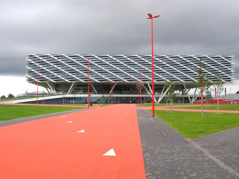 Herzogenaurach, Germany - August 19, 2019:  Building called Arena, the new 2019 opened Headquarter of global sports brand Adidas stock images