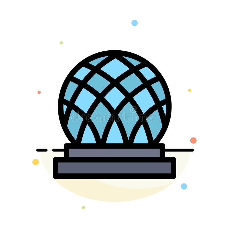Building, Canada, City, Dome Abstract Flat Color Icon Template vector illustration
