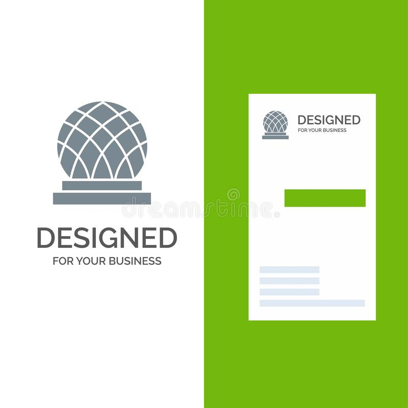 Building, Canada, City, Dome Grey Logo Design and Business Card Template royalty free illustration