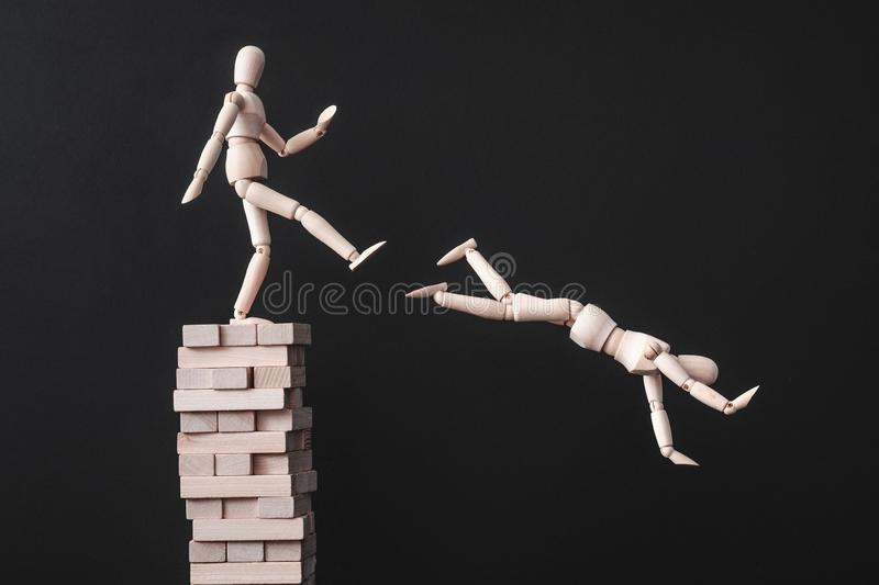 Building career leadership competition betrayal stock images