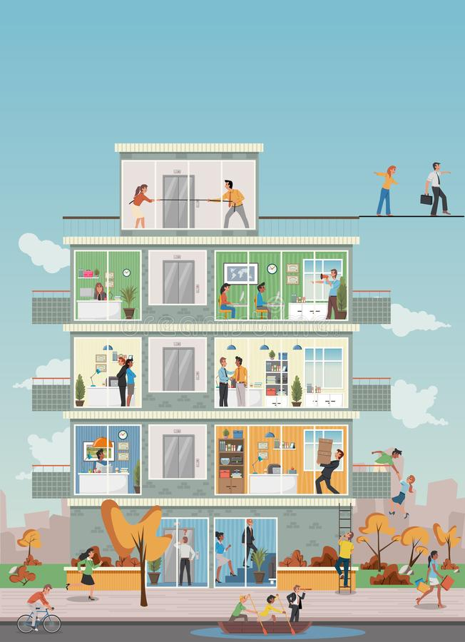 Building with cartoon business people working in office workspace stock illustration
