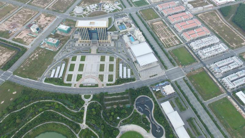Building center at new city Thu Dau Mo stock image