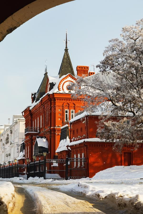 Building of Central Bank of Russian Federation of red brick on a winter day. Russia, city of Oryol. Building of the Central Bank of Russian Federation of red royalty free stock photography