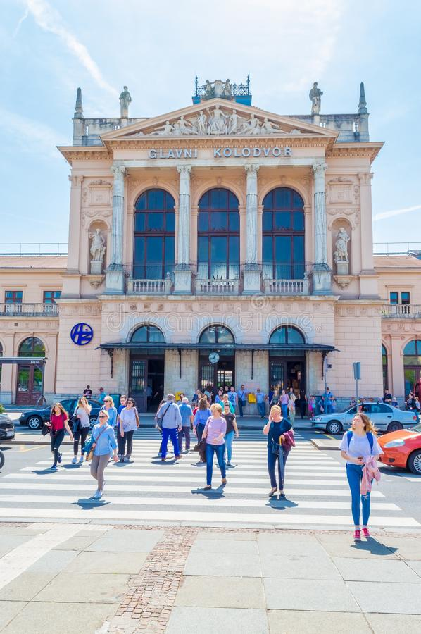 Building of Central railway station in Zagreb, Croatia royalty free stock photo