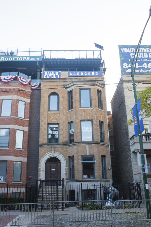 Download Building With Chicago Cubs Eamus Catuli Sign Across From Wrigley  Editorial Stock Photo   Image
