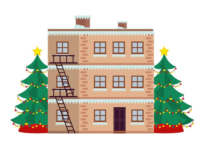 Building and christmas tree with snow winter season royalty free illustration