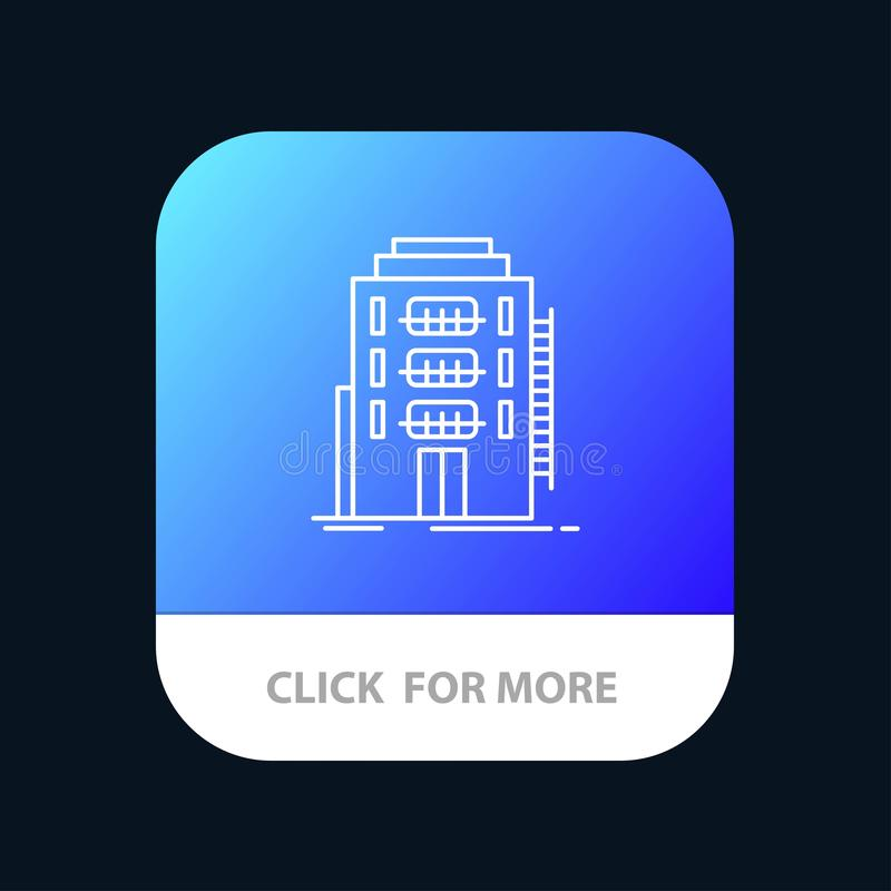 Building, City, Dormitory, Hostel, Hotel Mobile App Button. Android and IOS Line Version stock illustration