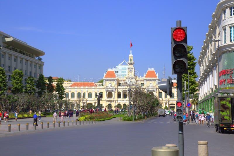 Building of City Hall in Saigon stock photo