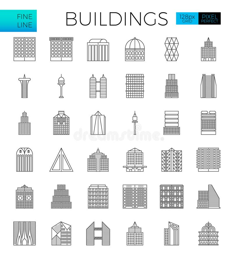 Building in the city icons. Set in modern line icon style for ui, ux, website, web, app graphic design royalty free illustration