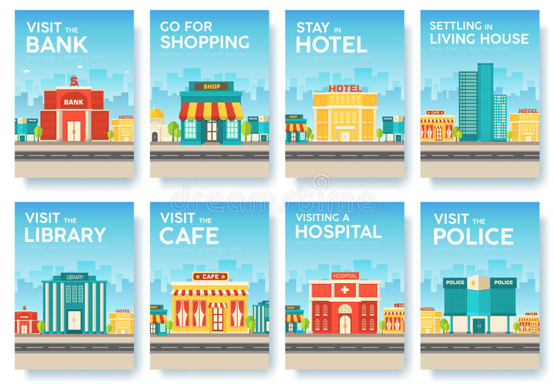 Building city information cards set. Architecture template of flyear, magazines, poster, book cover, banners vector illustration
