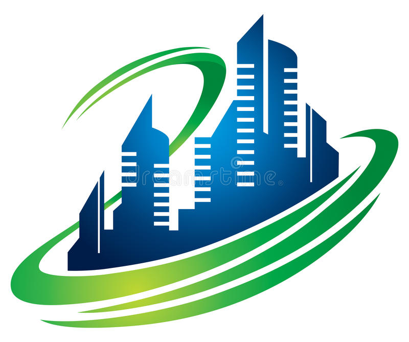 Building City Logo. A city building hi rise logo icon