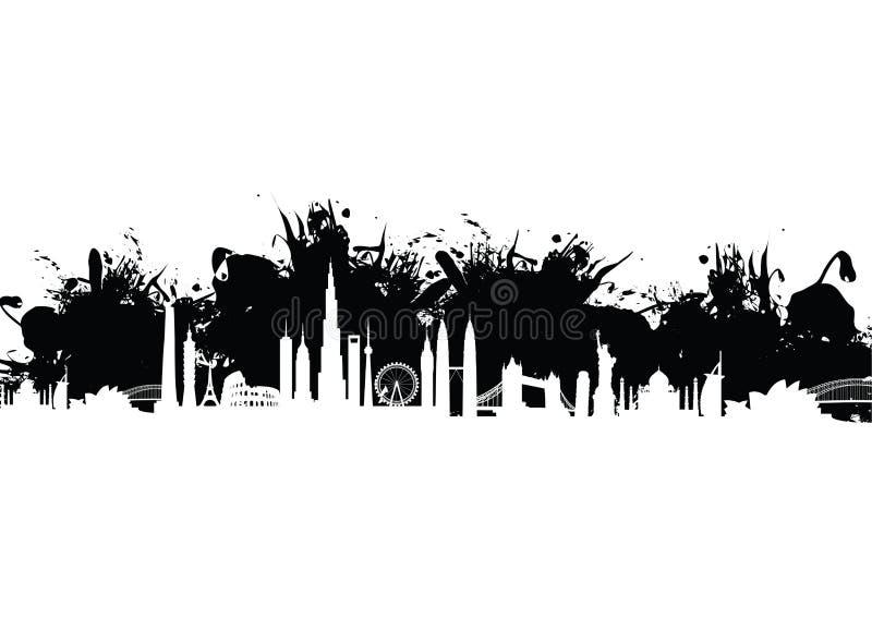 Building cityscape pattern splash stock illustration