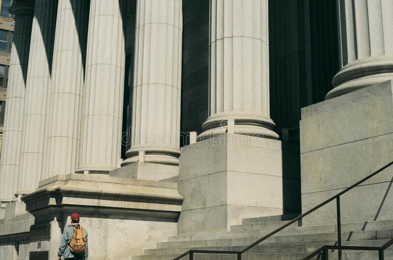 Building with classical style stone columns royalty free stock photos