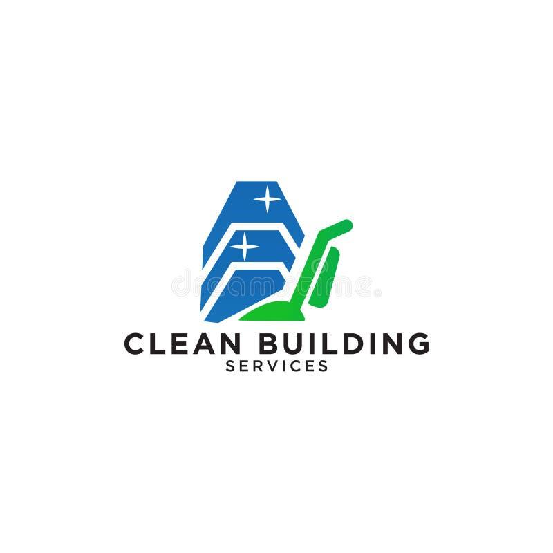 Building cleaning service logo design template vector illustration