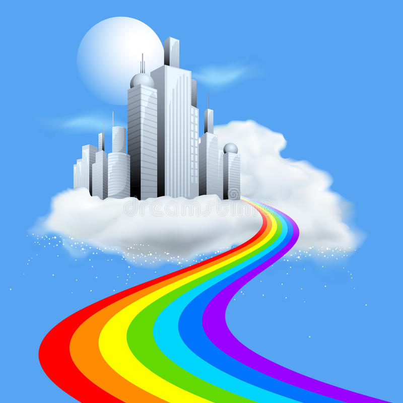 Building on Cloud. Illustration of skyscraper building on cloud with rainbow path royalty free illustration