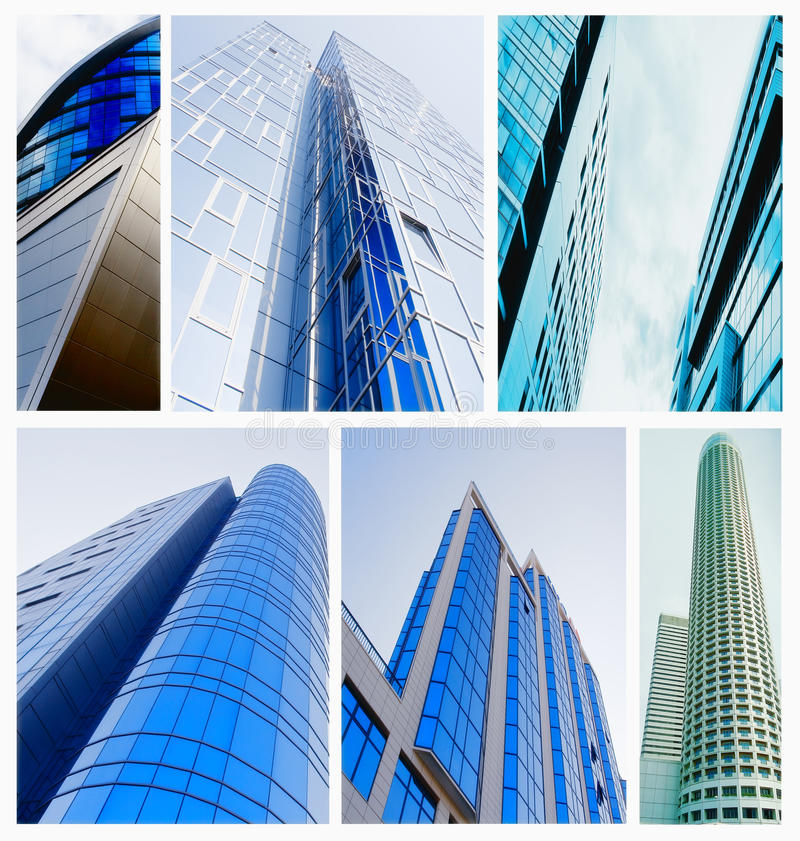 Building collage. Contemporary collage of diferent blue colored glass architectural buildings stock photography