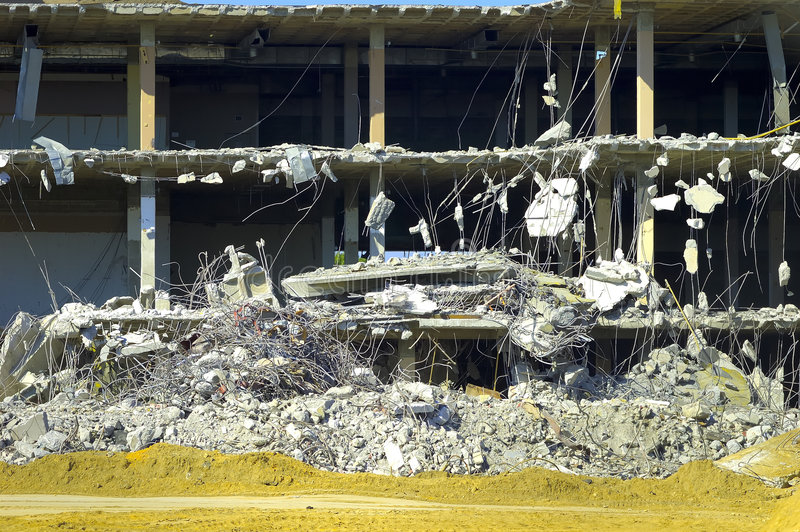 Building Collapse. Cross Section of a Building Being Demolished stock photo