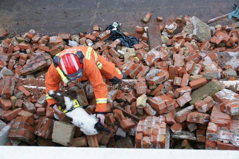Building collapse, disaster zone. Search & rescue, USAR at building collapse royalty free stock photography