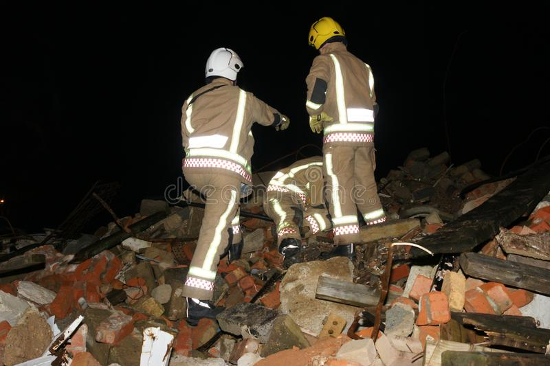 Building collapse, disaster zone. Search & rescue, USAR at building collapse royalty free stock photo