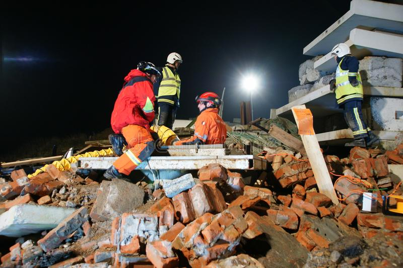 Building collapse, disaster zone. Search & rescue, USAR at building collapse royalty free stock photos