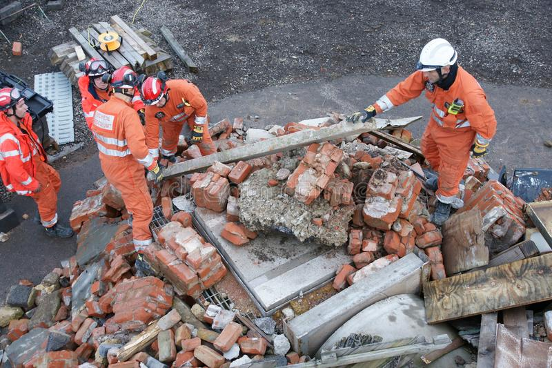 Building collapse, disaster zone. Search & rescue, USAR at building collapse royalty free stock image