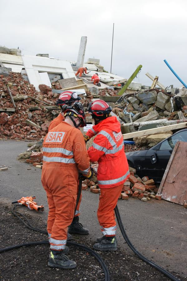 Building collapse, disaster zone. Search & rescue, USAR at building collapse stock images