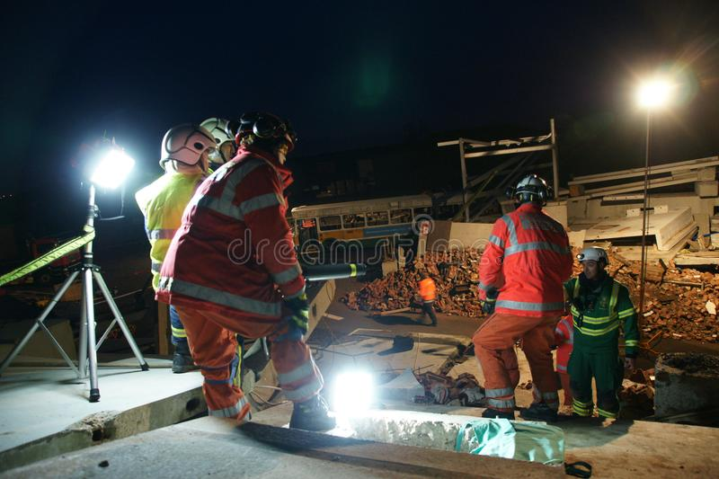 Building collapse, disaster zone. Search & rescue, USAR at building collapse stock photos