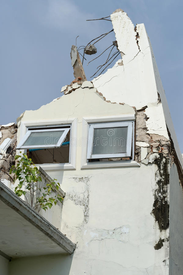 The Building collapse. And tree in bangkok thailand royalty free stock image