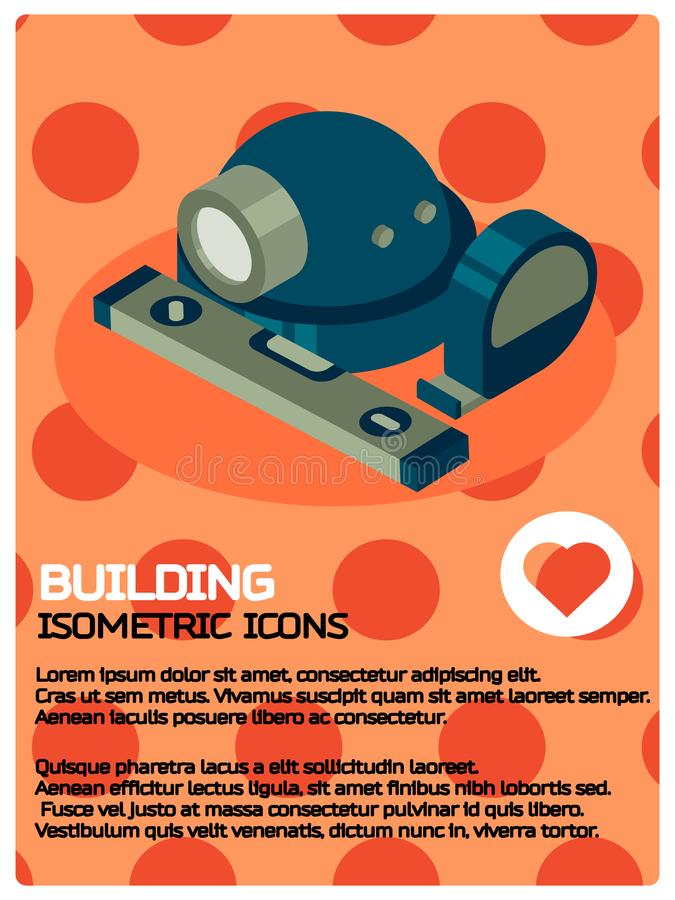 Building color isometric poster. Vector illustration, EPS 10 vector illustration