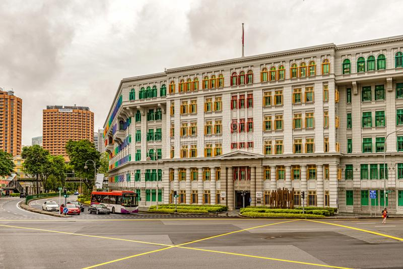 Building with colorful wooden windows in Clarke Quay, Singapore. Singapore, - January 11, 2018: Traffic at the heritage colonial building with colorful wooden stock photo