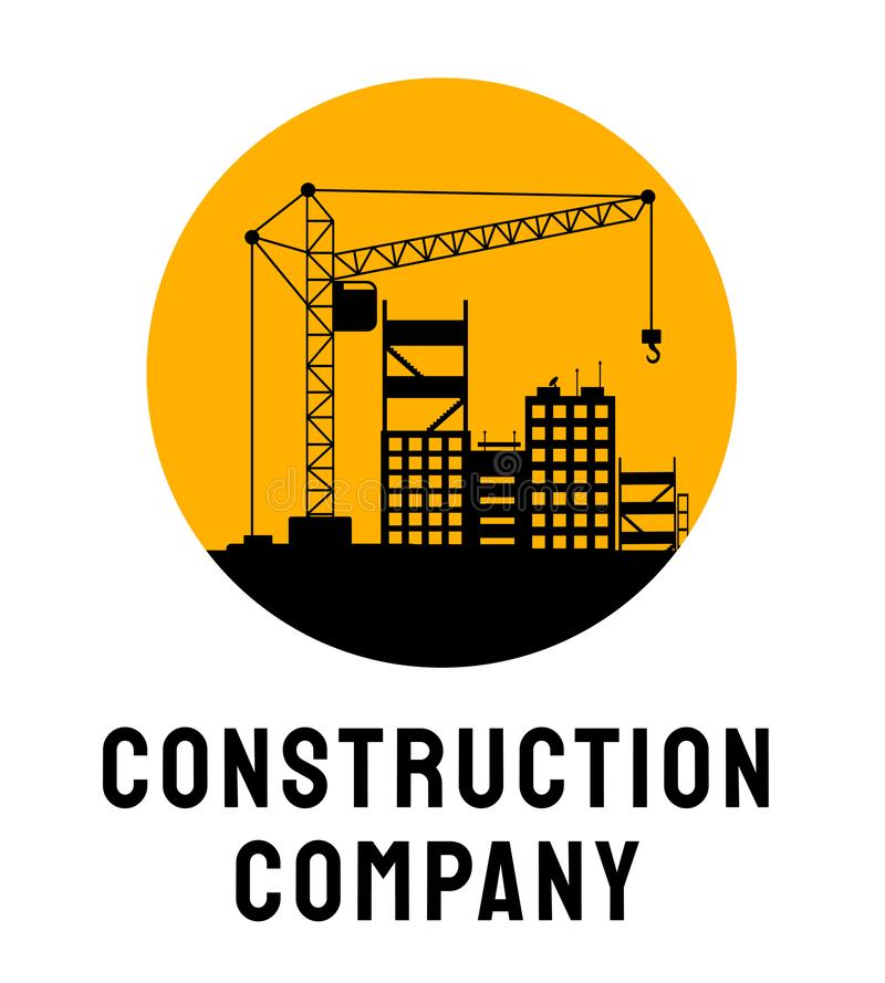 Building company service logo vector template. Architectural firm, housing development poster layout. Building under stock illustration