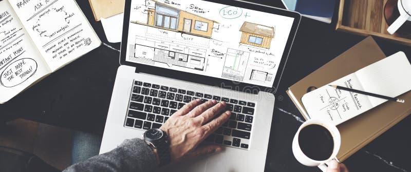 Building Computer Businessman Illustration Concept stock images