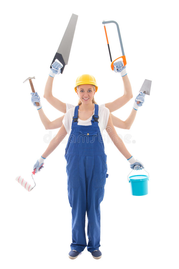 Building concept - woman in builder uniform with 6 hands holding stock photos