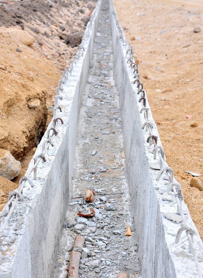 Building of concrete channel. Closeup stock image