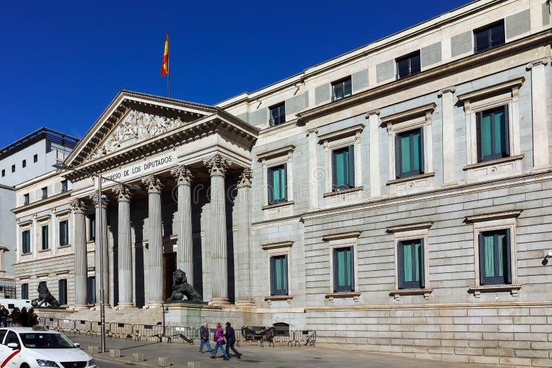 Building of Congress of Deputies Congreso de los Diputados in City of Madrid. MADRID, SPAIN - JANUARY 22, 2018: Building of Congress of Deputies Congreso de los stock photos