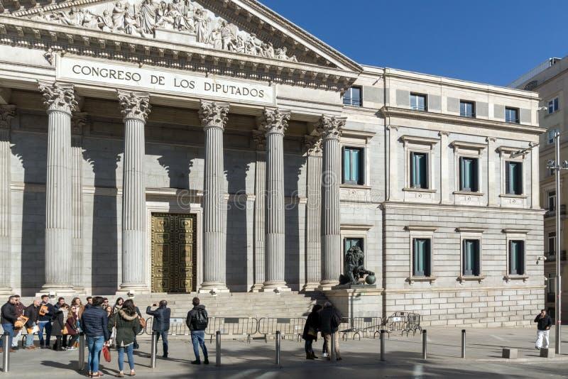 Building of Congress of Deputies Congreso de los Diputados in City of Madrid, Spain. MADRID, SPAIN - JANUARY 22, 2018: Building of Congress of Deputies Congreso royalty free stock image