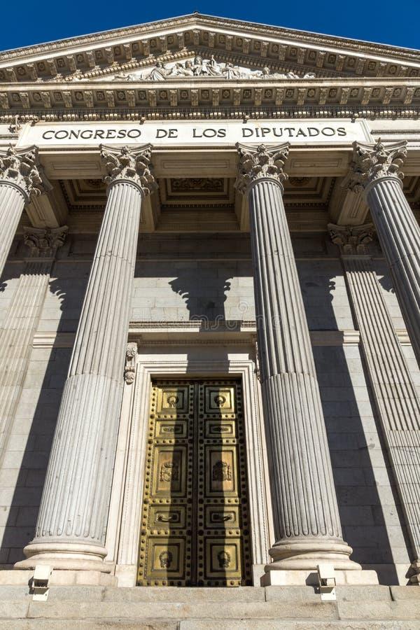 Building of Congress of Deputies Congreso de los Diputados in City of Madrid, Spain. MADRID, SPAIN - JANUARY 22, 2018: Building of Congress of Deputies Congreso royalty free stock images